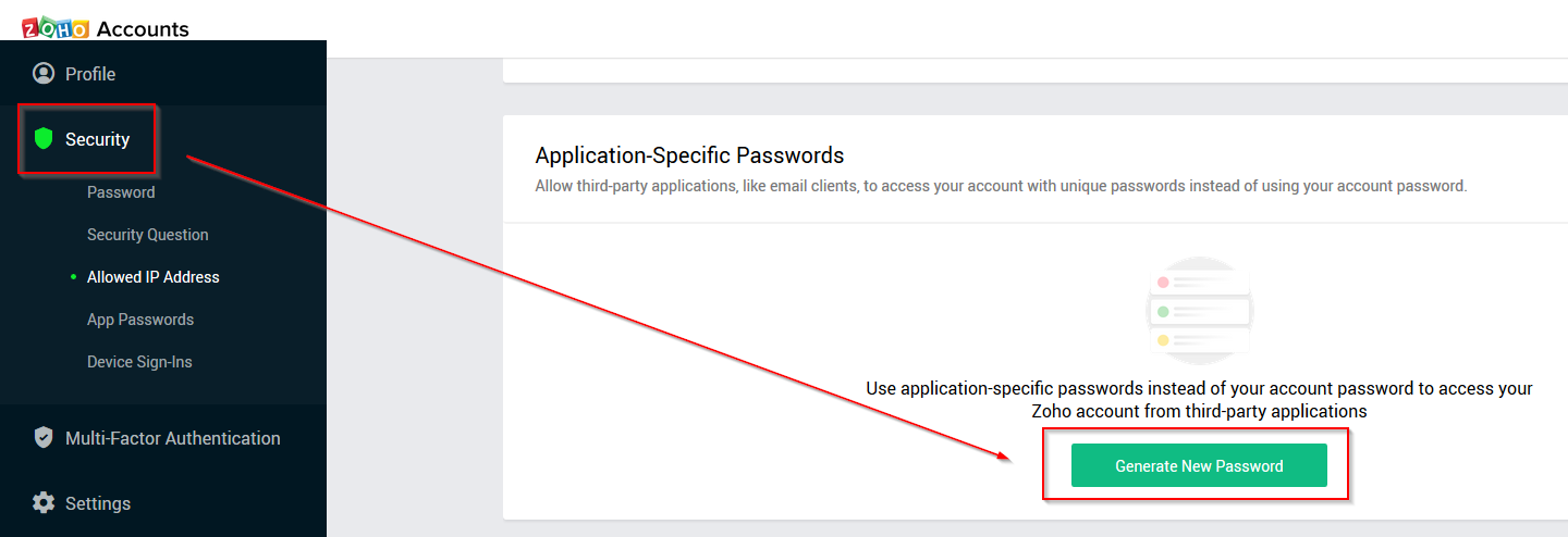 Zoho Application Specific Passwords